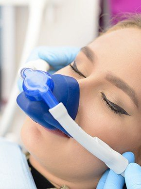 Patient with nitrous oxide nasal mask in place